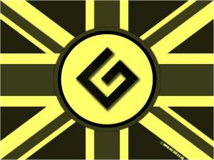 BRITISH GRAMMAR NAZIS LOGO, PROCESSED YELLOW