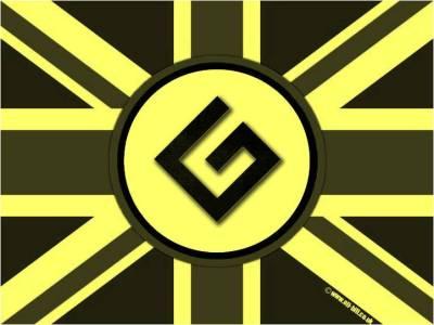 BRITISH GRAMMAR NAZIS LOGO, PROCESSED YELLOW