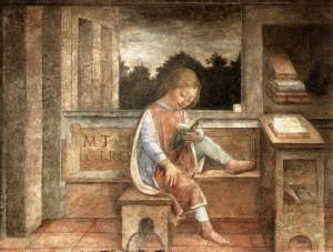 BOY READING CICERO, FRESCO BY VINCENZO FOPPA
